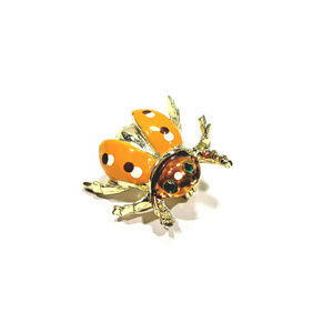 Vintage Beetle Brooch Yellow with Polka Dots